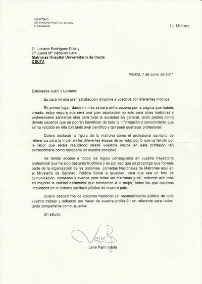 Carta de la  ministra de sanidad