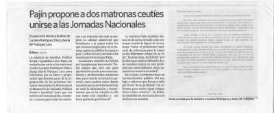 Pajín propone a dos matronas ceutíes unirse a las Jornadas Nacionales