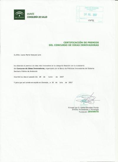 Certificado IAVATE Ideas innovadoras Juani Vázquez