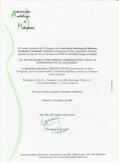 Mención especial pictograma en el congreso de la Asociación Andaluza de Matronas