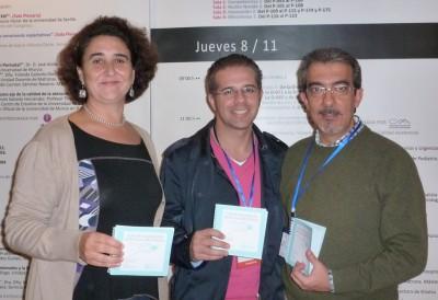 Juani, Luciano y Antonio con las Guías en el Congreso de Murcia