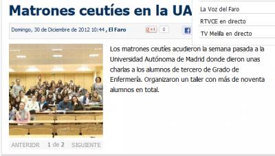Faro de Ceuta: Luciano y Juani dando clase en la Universidad Autónoma de Madrid