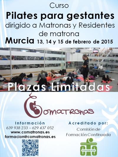 Cartel Curso de pilates para matronas - Murcia febrero 2015