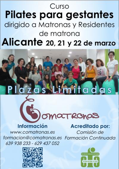 Cartel curso pilates para embarazadas - Alicante