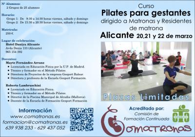 Diptico 1 curso pilates para embarazadas - Alicante