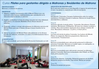 Diptico 2 curso pilates para embarazadas - Alicante