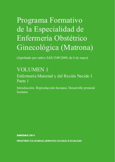 Programa Formativo Especialidad matrona - Volumen 1