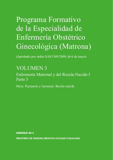 Programa Formativo Especialidad matrona - Volumen 3