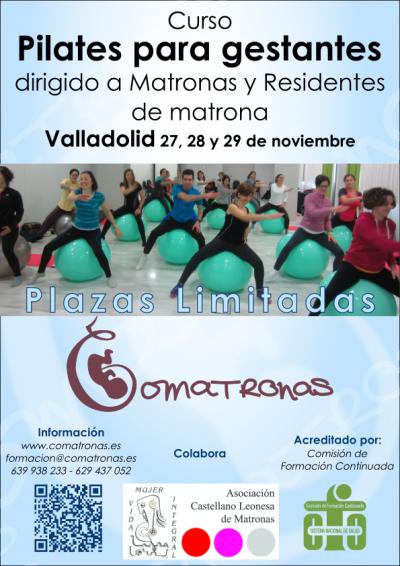 Cartel curso de Pilates para embarazadas en Valladolid