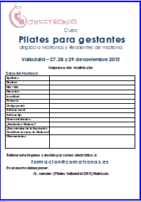 Matricula curso pilates para matronas Valladolid
