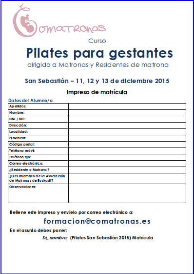 Matrícula del curso Pilates para Matronas - San Sebastián - Diciembre 2015