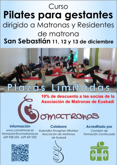 Cartel del curso Pilates para Matronas - San Sebastián - Diciembre 2015