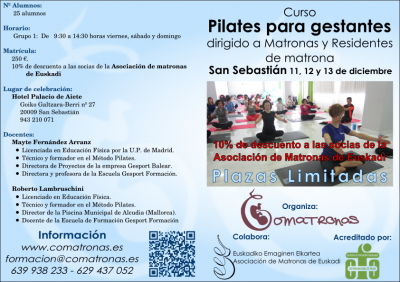 Díptico 1 del curso Pilates para Matronas - San Sebastián - Diciembre 2015