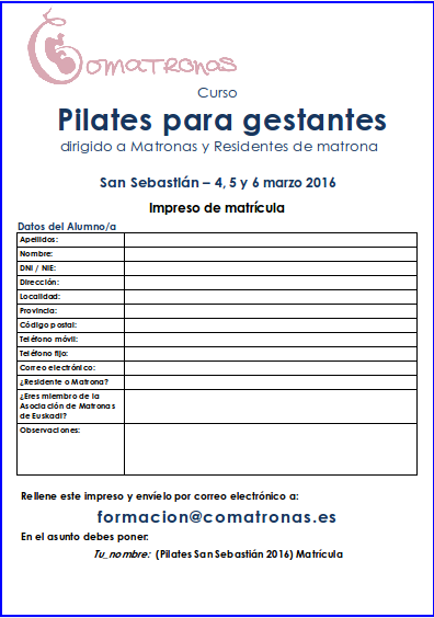 Matricula curso pilates matronas San Sebastián - 2016