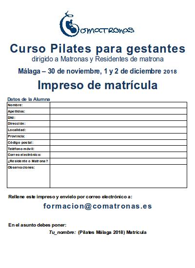 Matricula curso pilates para matronas Málaga 2018