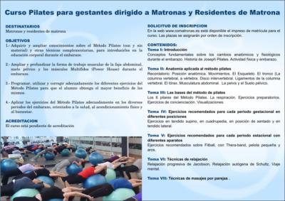 Díptico 2 Curso Pilates para matronas Málaga 2018